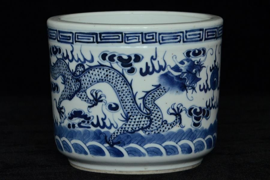 Chinese Blue White Dragon Incense Burner 18th C