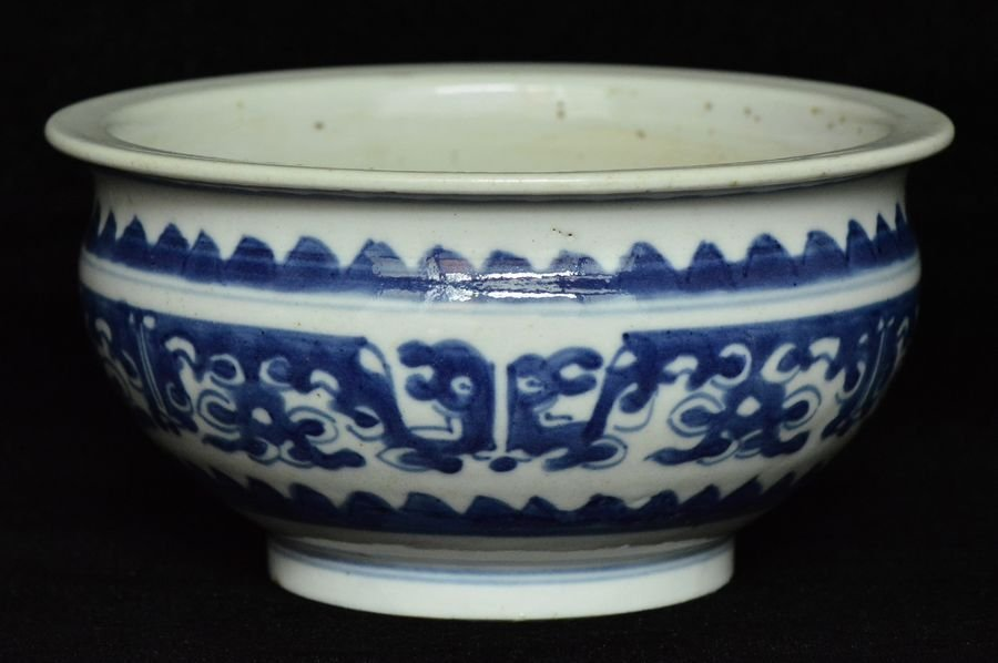 $1 Chinese Blue and White Incense Burner 18th C