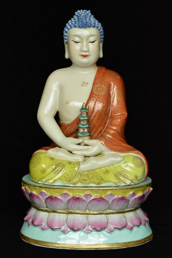$1 Chinese Famille Rose Buddha Figure 18th C