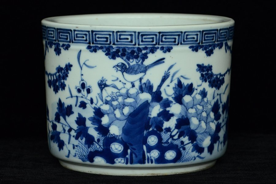 $1 Chinese Blue and White Brush Pot 19th C