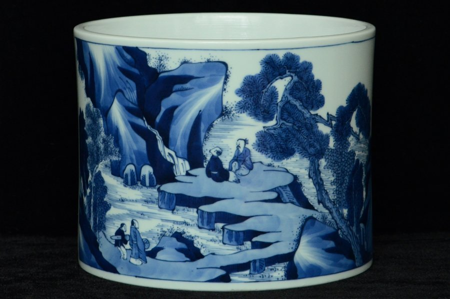 $1 Chinese Blue and White Brush Pot Kangxi Period
