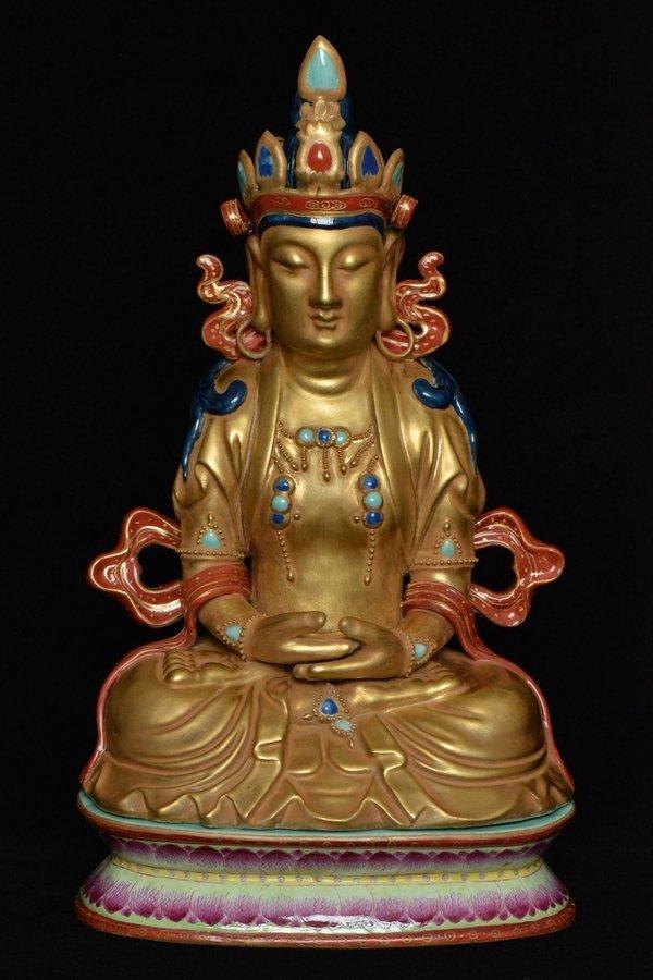 $1 Chinese Buddha Figure Qianlong Period Box