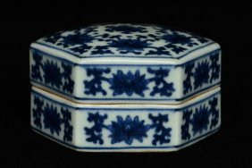 $1 Chinese Blue White Box Qianlong Mark & Period