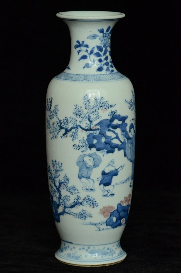 $1 Chinese BW Red Underglaze Vase Figure - 2