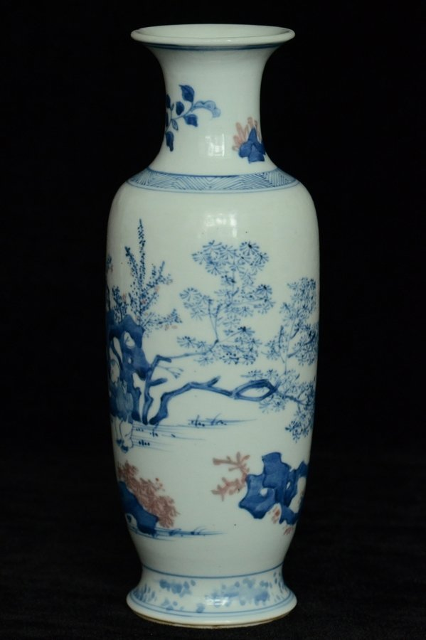 $1 Chinese BW Red Underglaze Vase Figure - 4