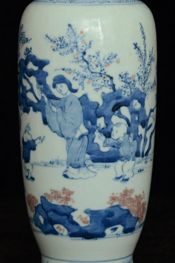 $1 Chinese BW Red Underglaze Vase Figure - 5