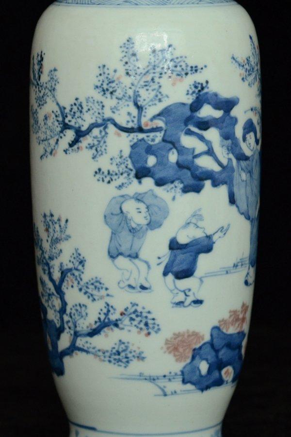 $1 Chinese BW Red Underglaze Vase Figure - 6