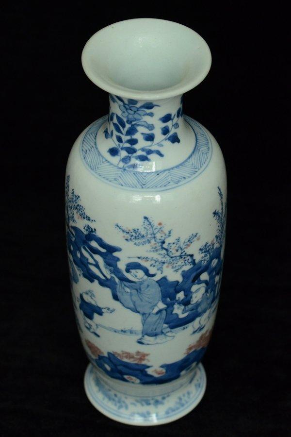 $1 Chinese BW Red Underglaze Vase Figure - 7