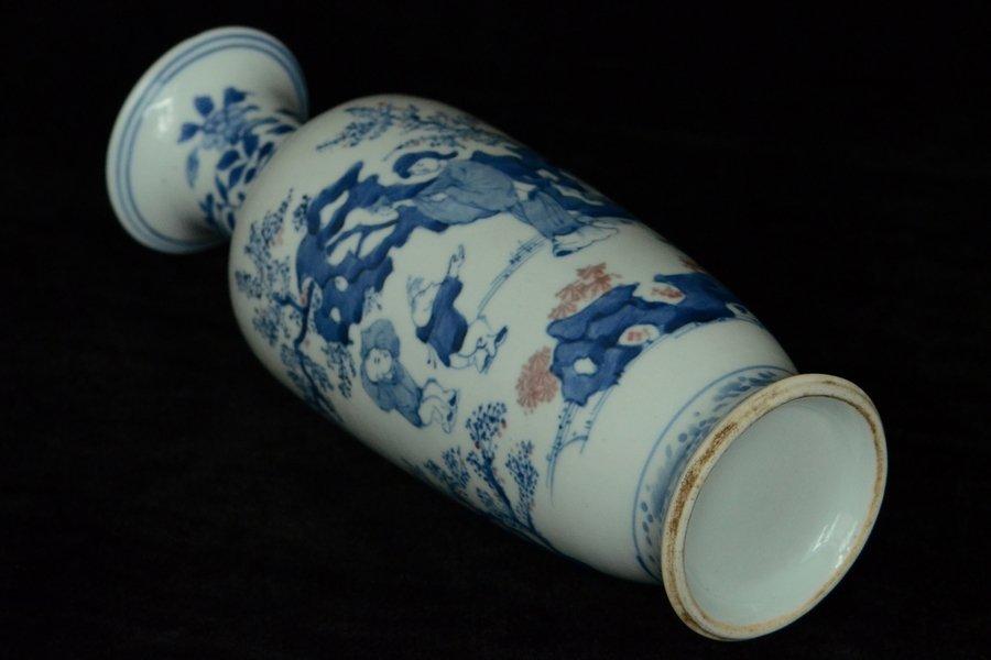 $1 Chinese BW Red Underglaze Vase Figure - 8