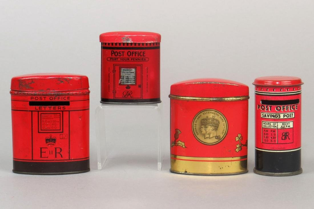 Lot of 4 Tin English Post Office-type Banks