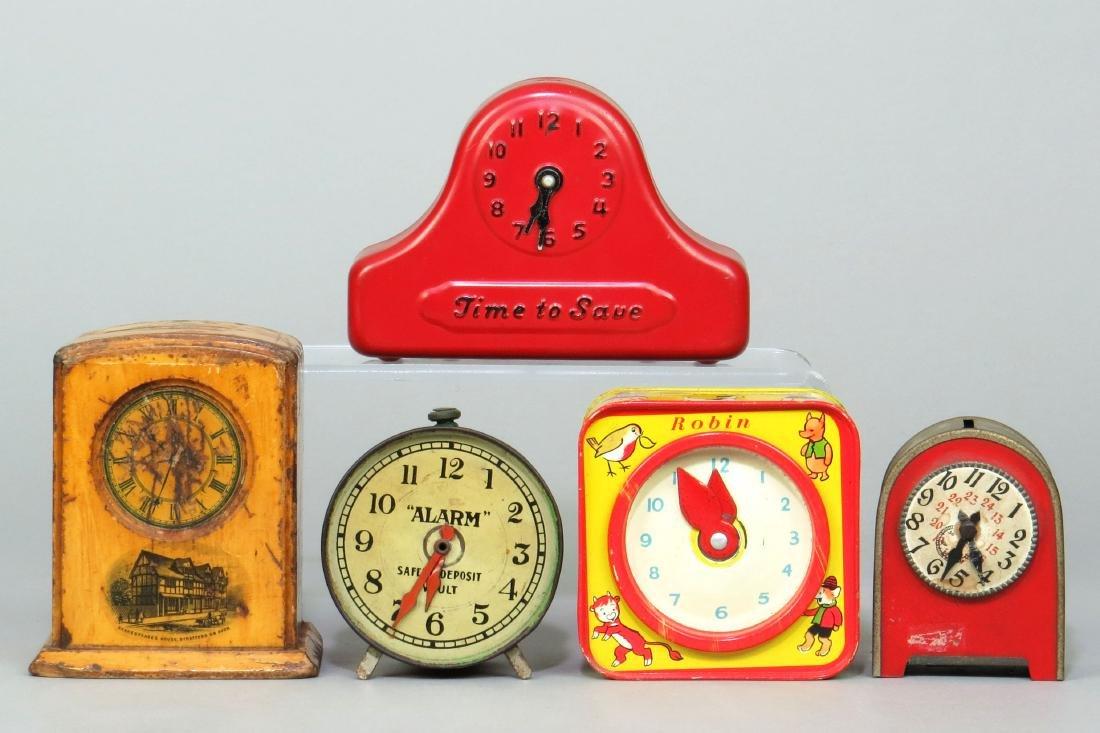 Lot of 5 Wood, Plastic, & Metal Clock Banks