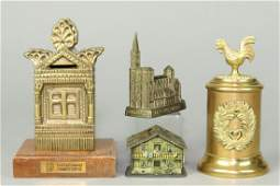 Lot of 4 Wood, Brass, Tin, Lead, and Metal Misc. Banks