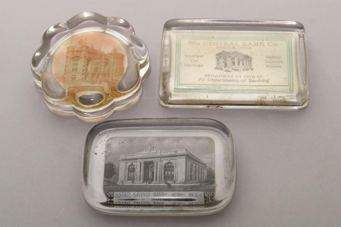 Lot of 3 Glass Financial-related Paperweights