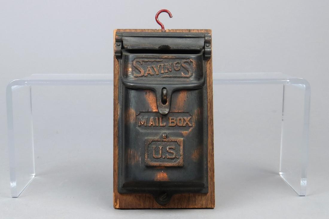 """CI and Wood """"Postal Savings Mailbox"""" Bank"""