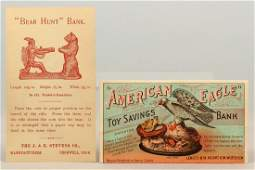 Lot of 2 Paper Mechanical Bank Trade Cards