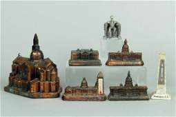 Lot of 7 Metal Misc Souvenir Buildings