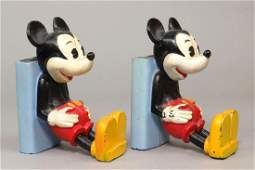 Lot of 2 CI Mickey Mouse Bookend Banks