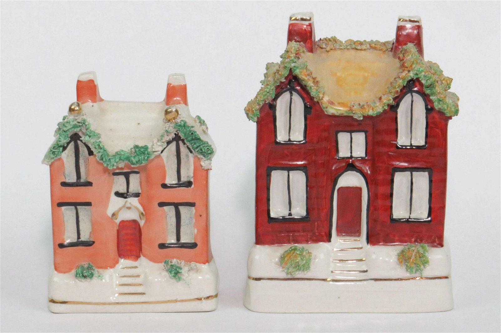 Lot of 2 Ceramic Staffordshire Building Banks