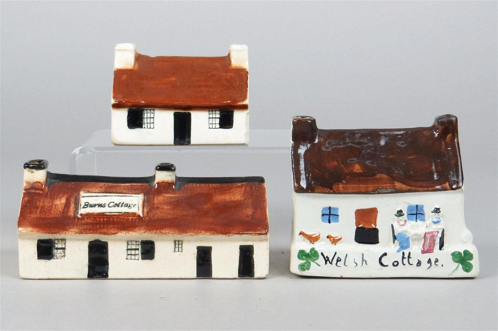Lot of 3 Ceramic Building Banks