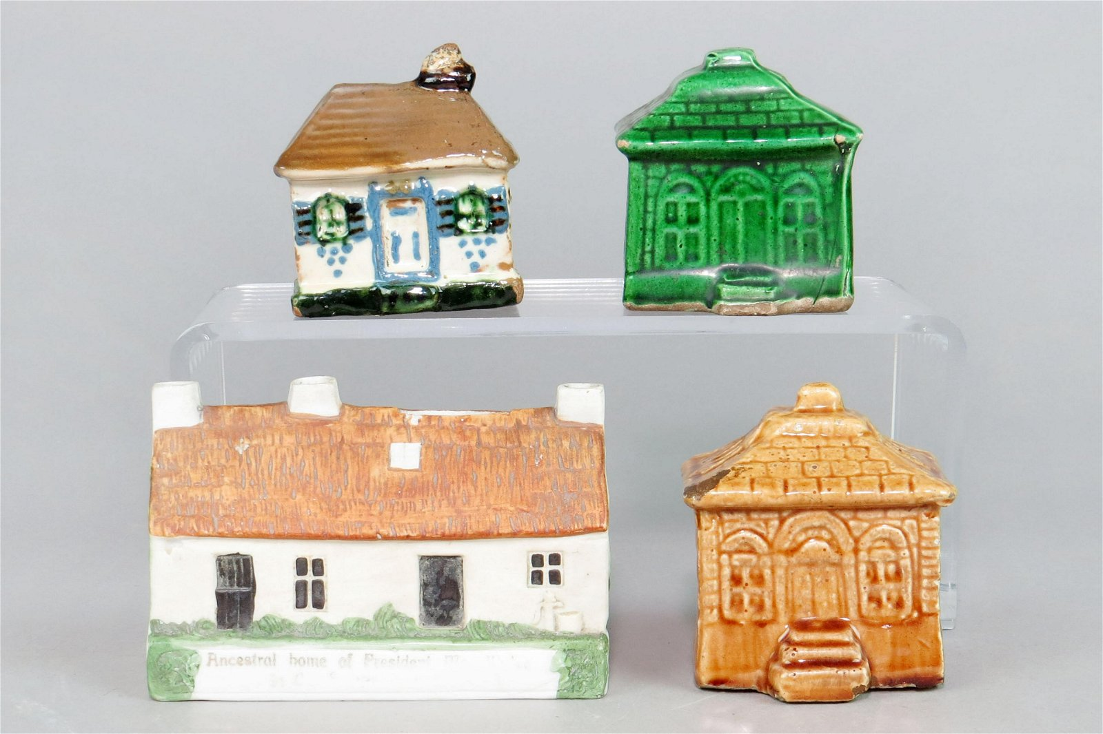 Lot of 4 Ceramic Building Banks
