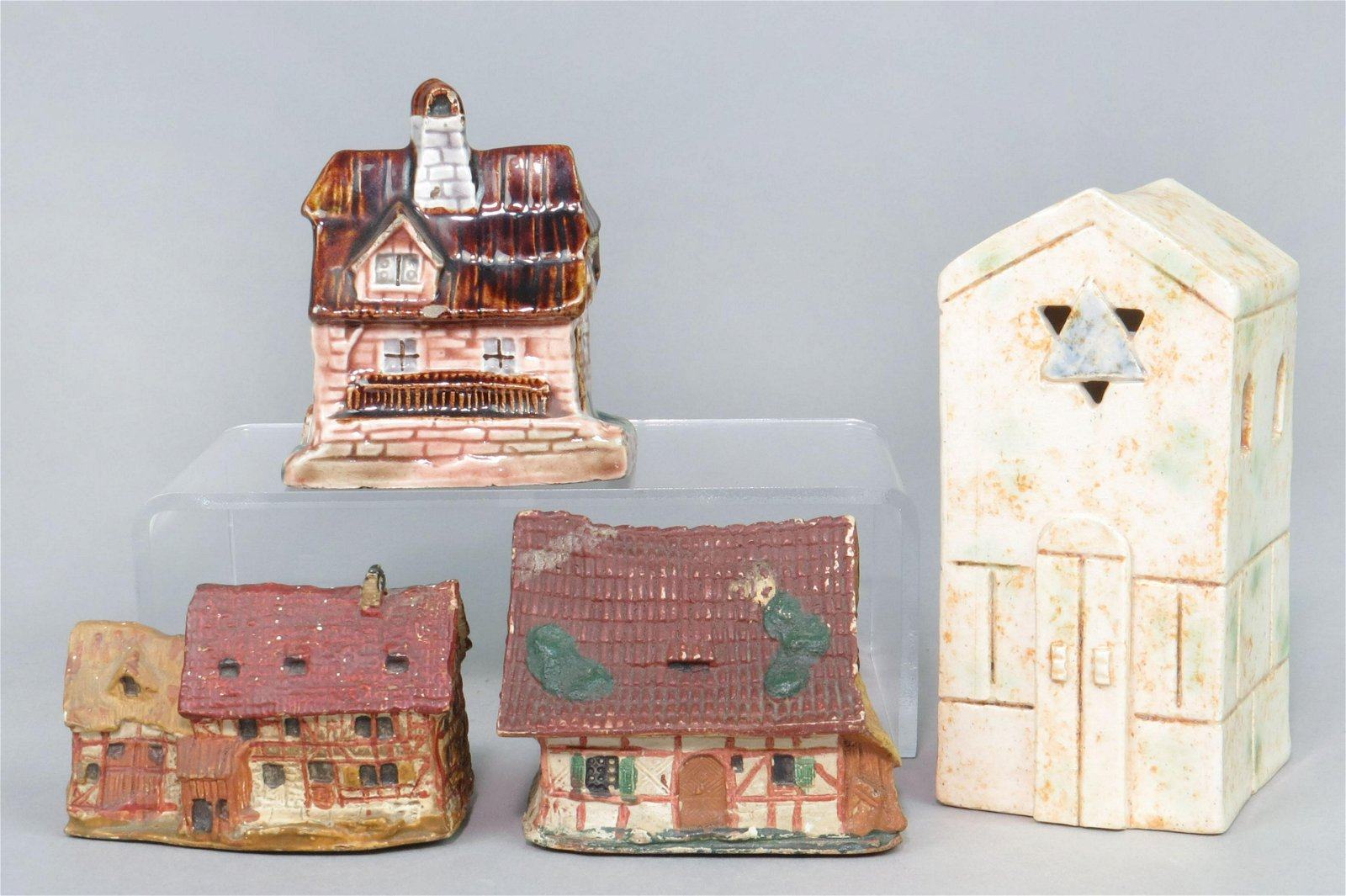 Lot of 4 Elastolin/Ceramic Building Banks