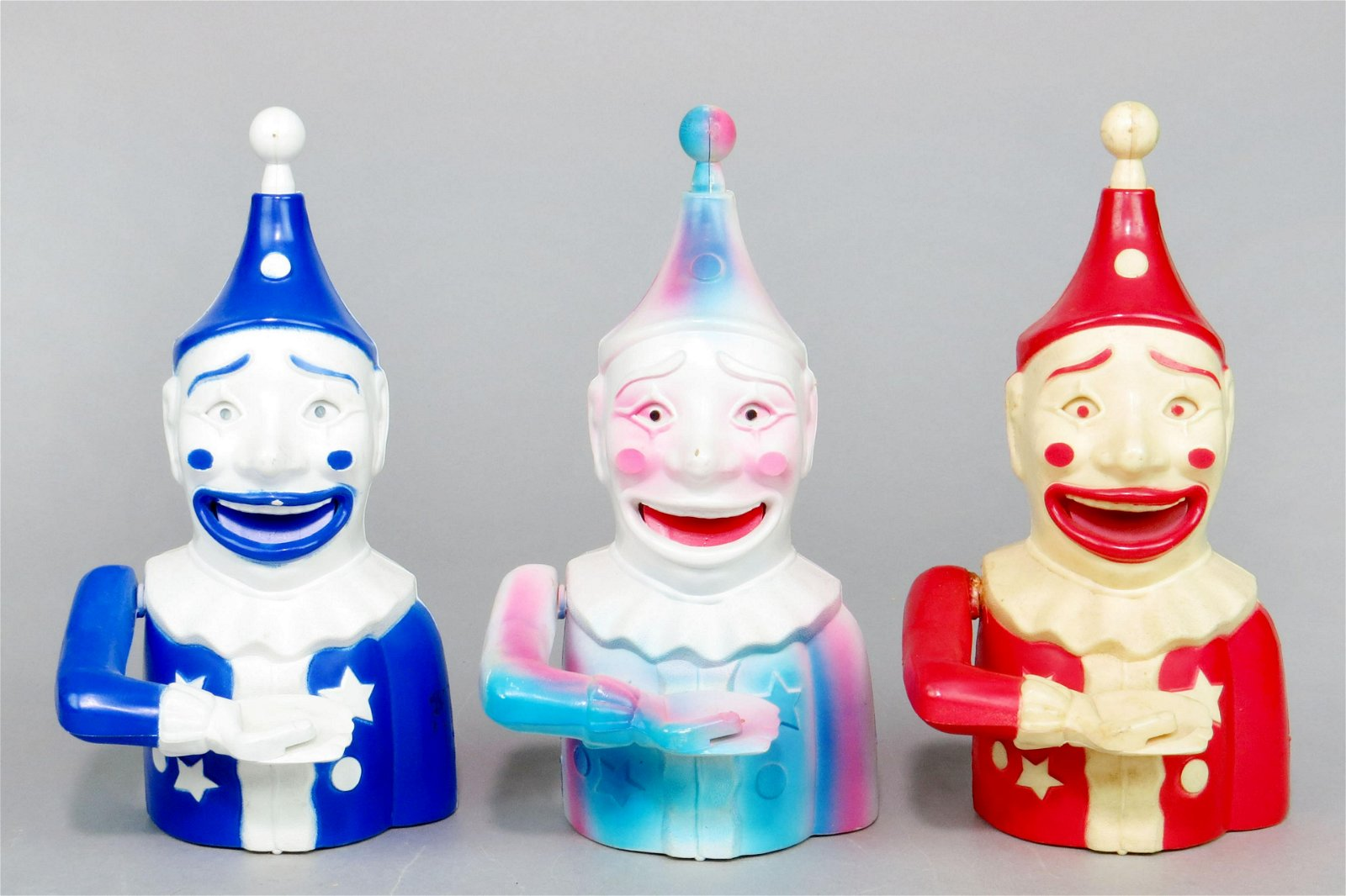 Lot of 3 Plastic Mechanical Clown Banks