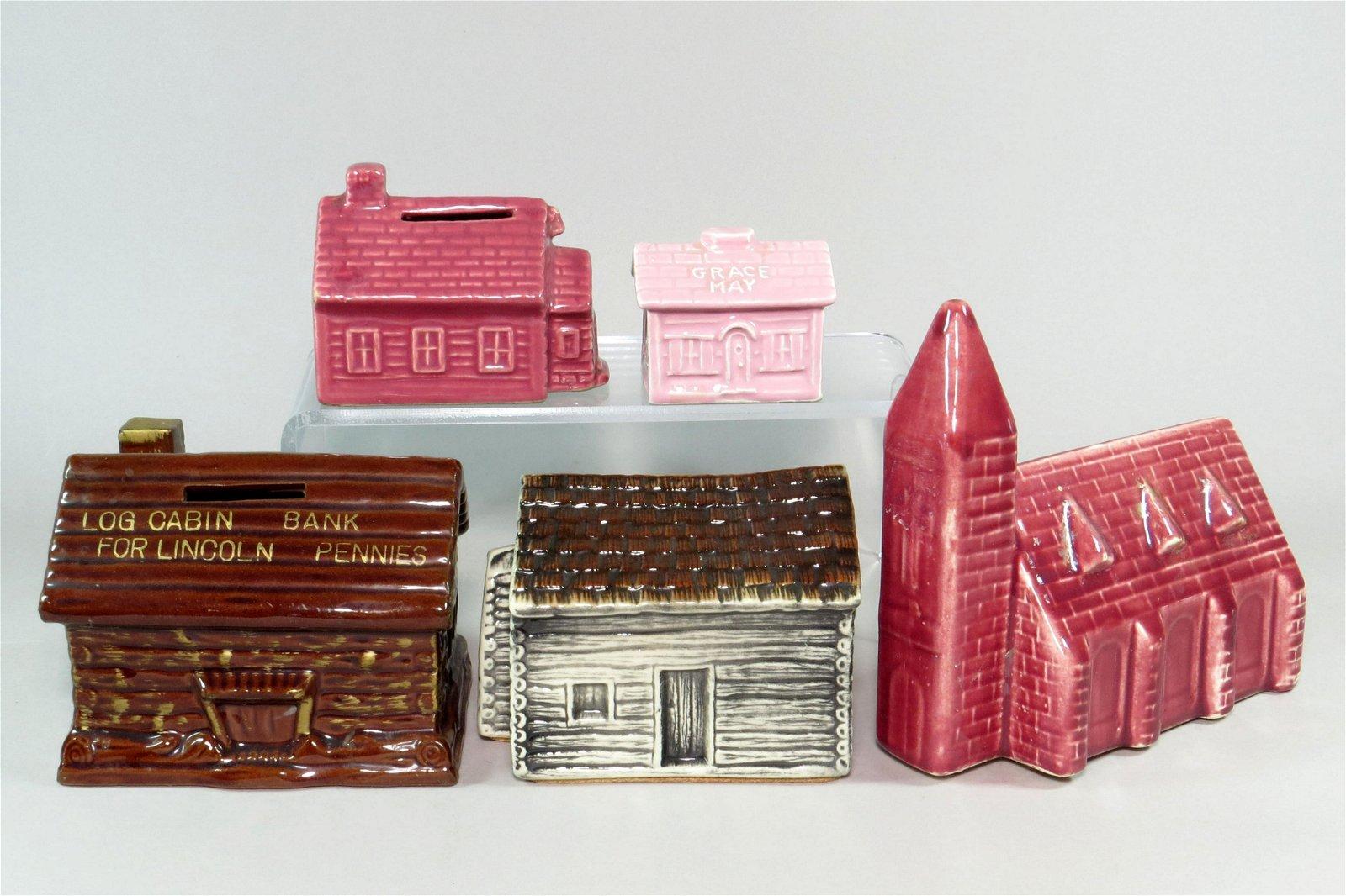Lot of 5 Ceramic Building Banks