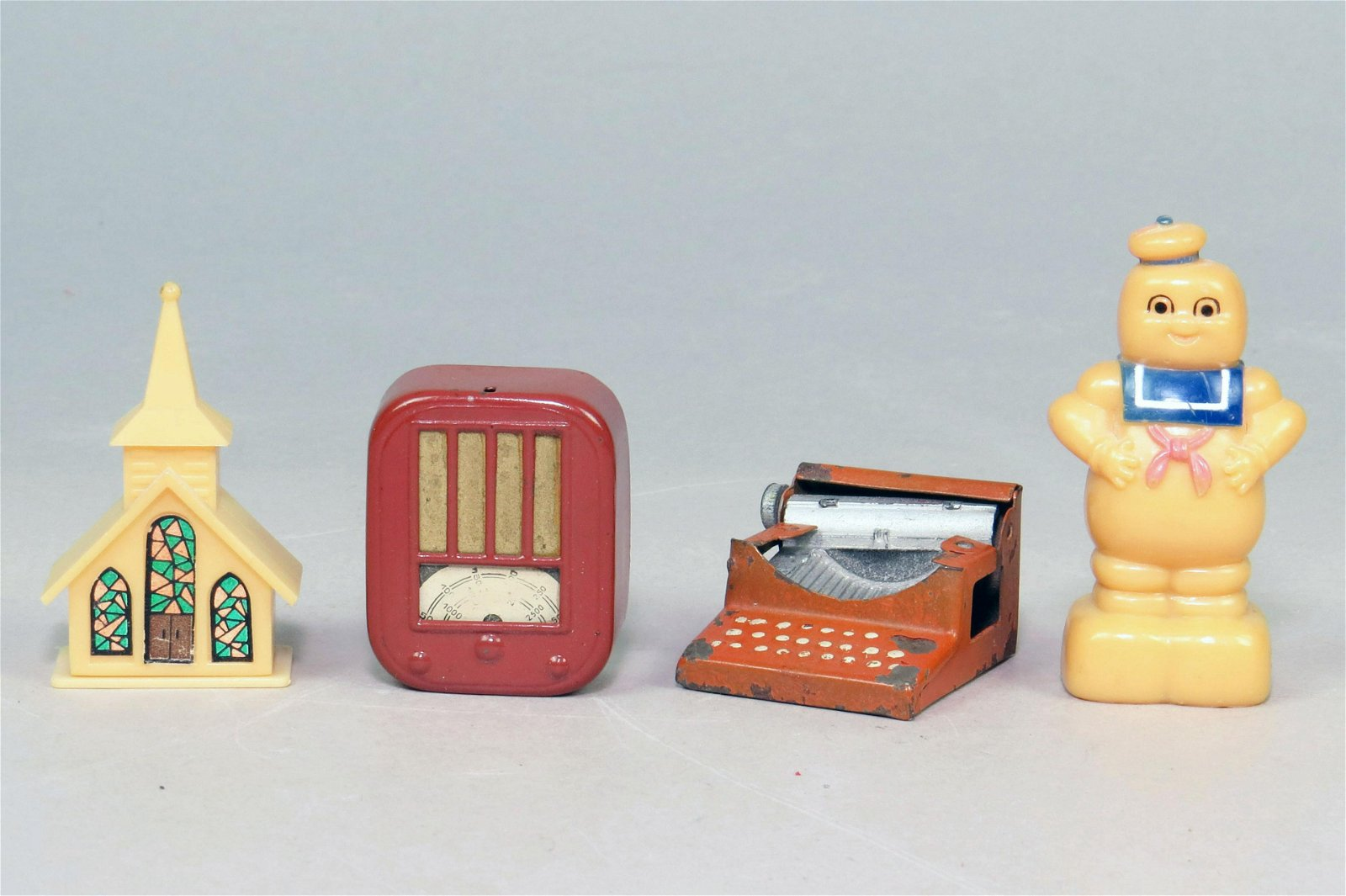 Lot of 4 Celluloid/Tin Pencil Sharpeners