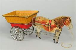 Wood/Metal Gibbs English Pony Cart Pull Toy
