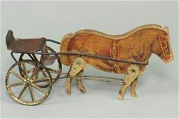 Wood/Metal Gibbs Pony Cart Pull Toy