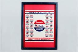 Framed WWII Poster Buy War Bonds wButtons