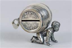 Silvered Lead Boy w/Money Barrel Bank