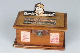 """""""Magic Drawer"""" Mechanical Bank, Wood/Metal"""