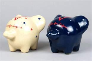 "Lot of 2 Ceramic ""Victory Pig"" Banks"