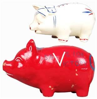 Lot of 2 Paper Mache/Ceramic Victory Pig Banks