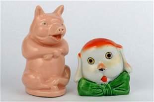 Lot of 2 Ceramic Animal Banks