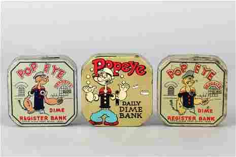 Lot of 3 Tin Popeye Dime Register Banks