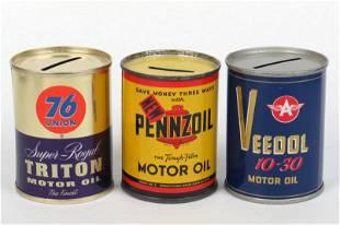 Lot of 3 Tin Motor Oil Banks