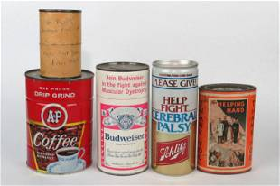 Lot of 5 Tin/Cdbd Misc. Adv. and Donation Banks