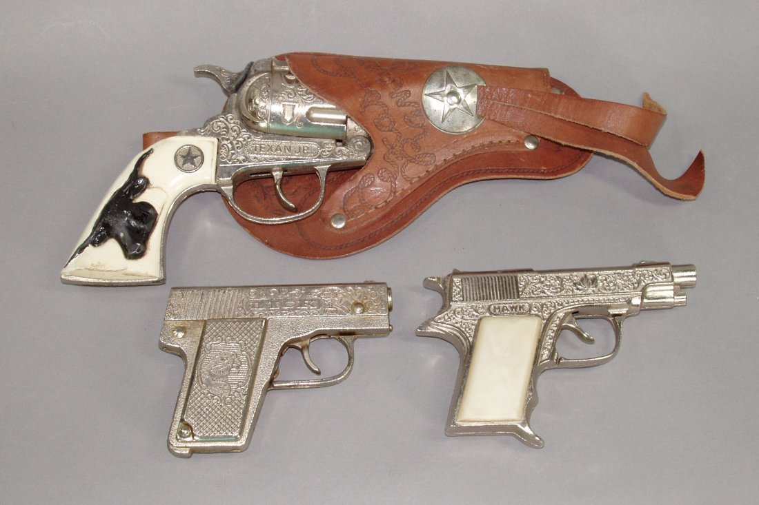"3: Lot of 3 Toy Cap Guns:  ""Dick""; ""Hawk""; ""Texan Junio"