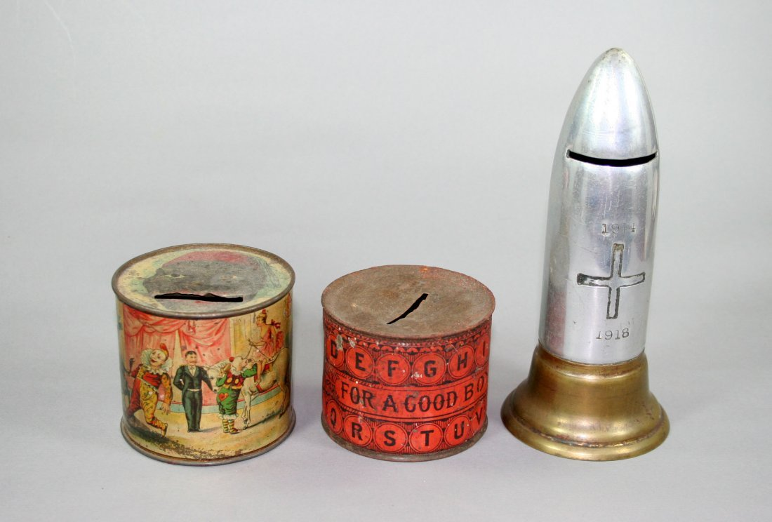 "18: Lot of 3:  Early Tin; Alphabet Tin; WWI Shell ""1914"