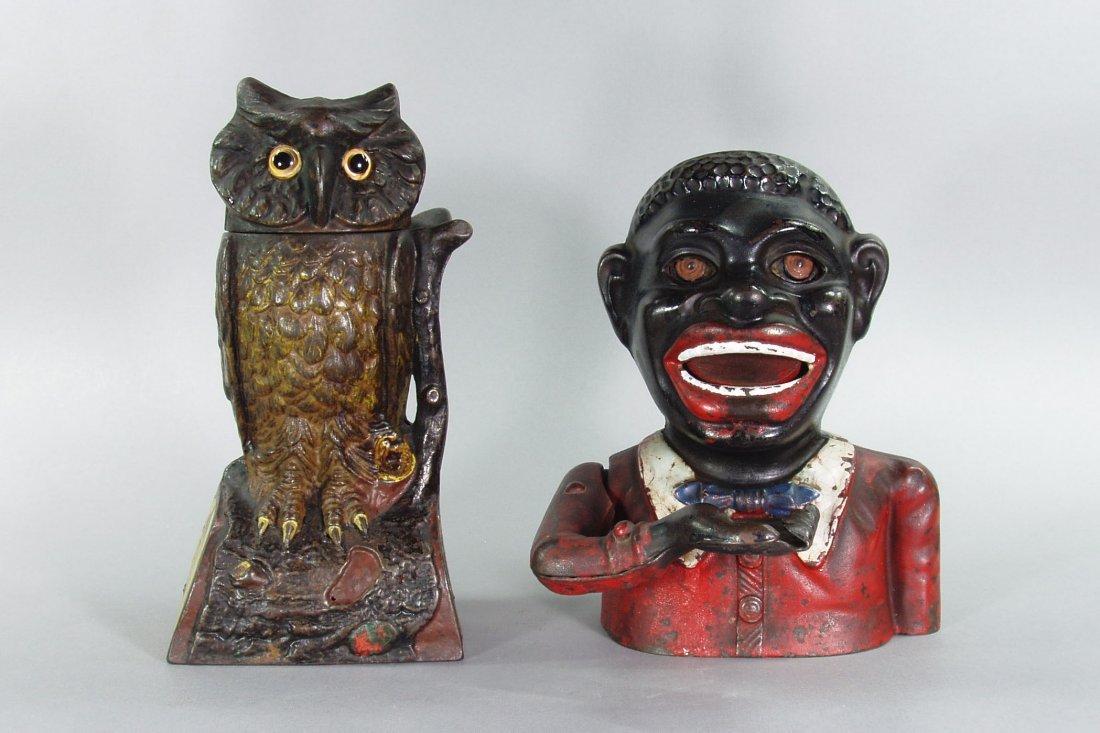 "128: Lot of 2 Mech. Banks:  Owl, Turns Head; ""Jolly N"""