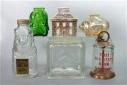 "221: Lot of 6 Misc. Glass Banks including ""Marathon"" Oi"