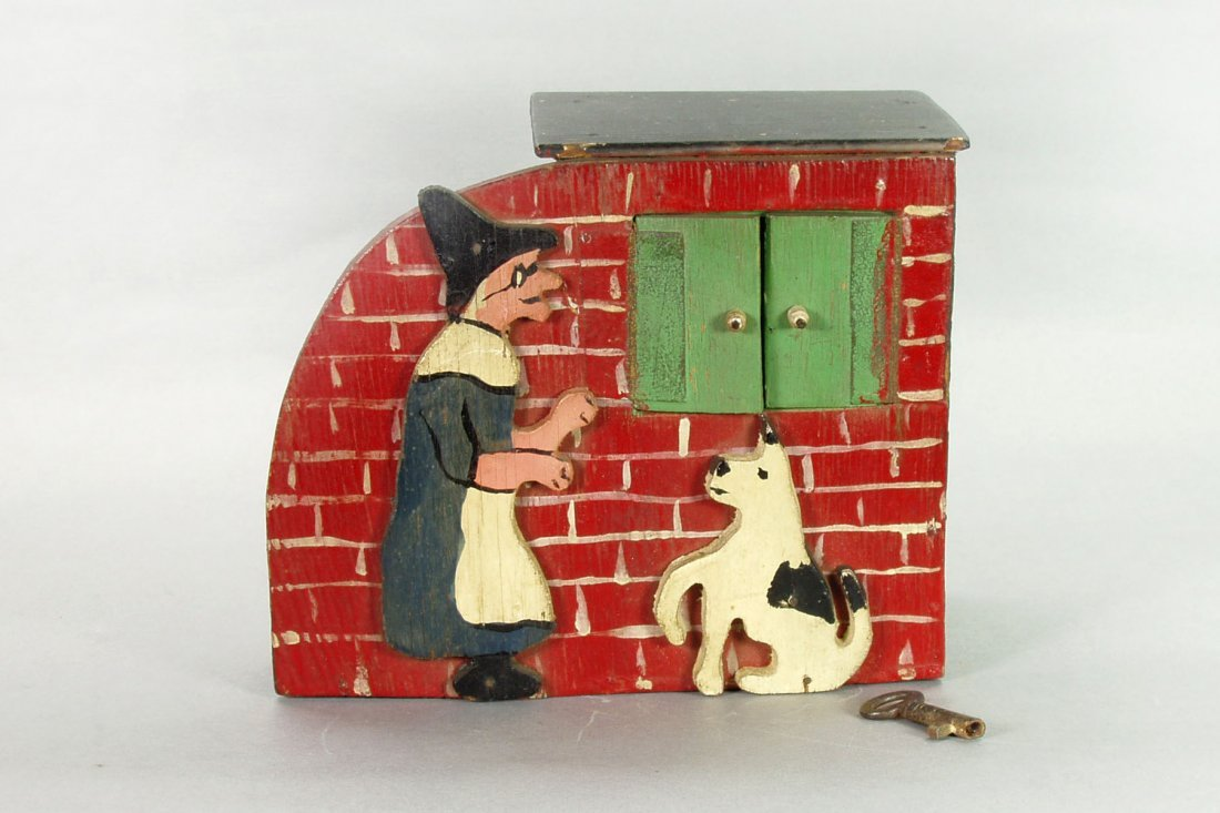 407: Mother Hubbard w/Dog Bank w/key - Wood