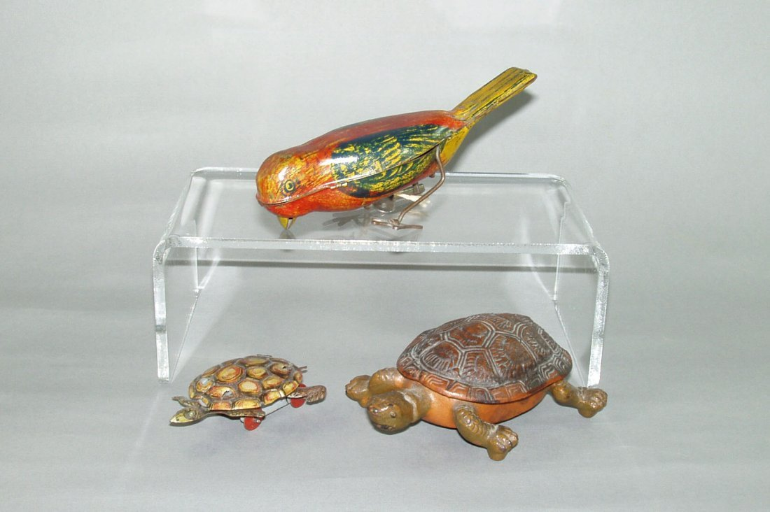 412: Lot of 3 Toys:  Wind up Bird; Turtle; Turtle (no i