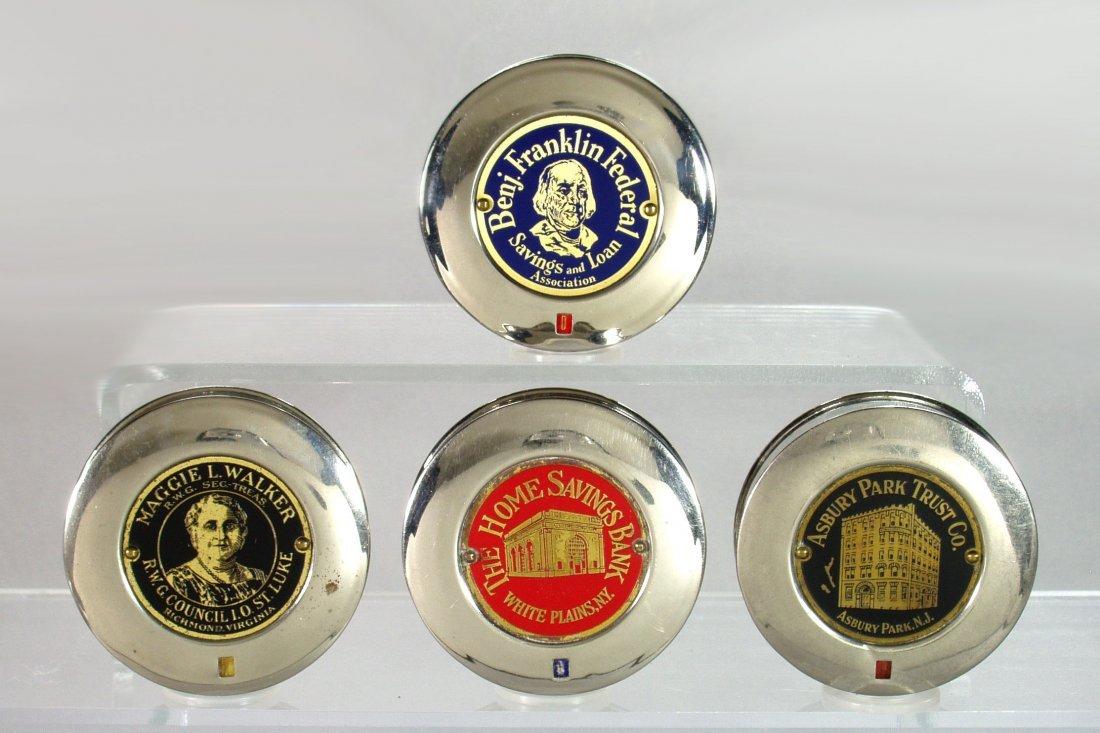 Lot of 4 Round Metal Pocket Dime Banks