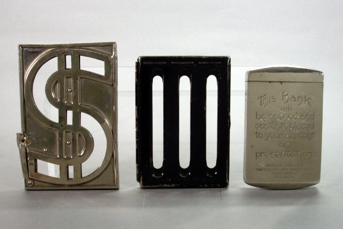 Lot of 3 Metal Pocket Banks