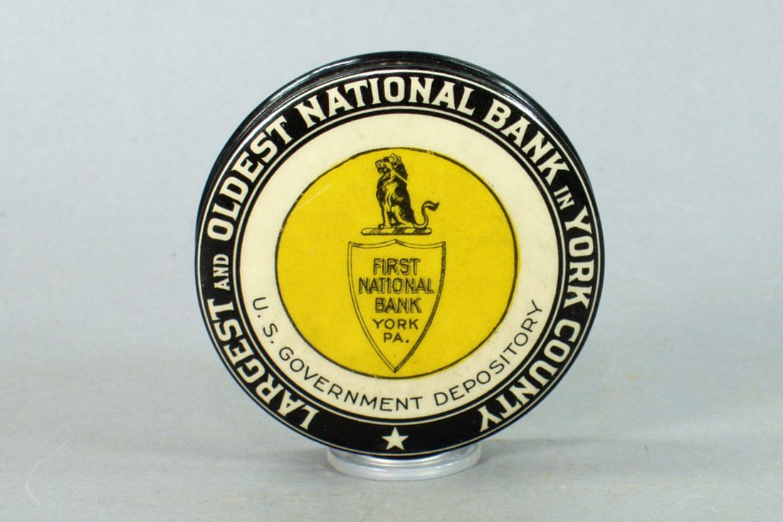 """First National Bank - York, PA"" Celluloid Pocket Bank"