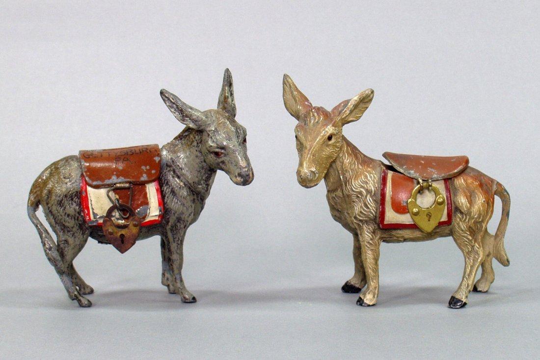 Lot of 2 Spelter Donkey Still Banks