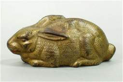 Cast Iron Rabbit Lying Down Still Bank